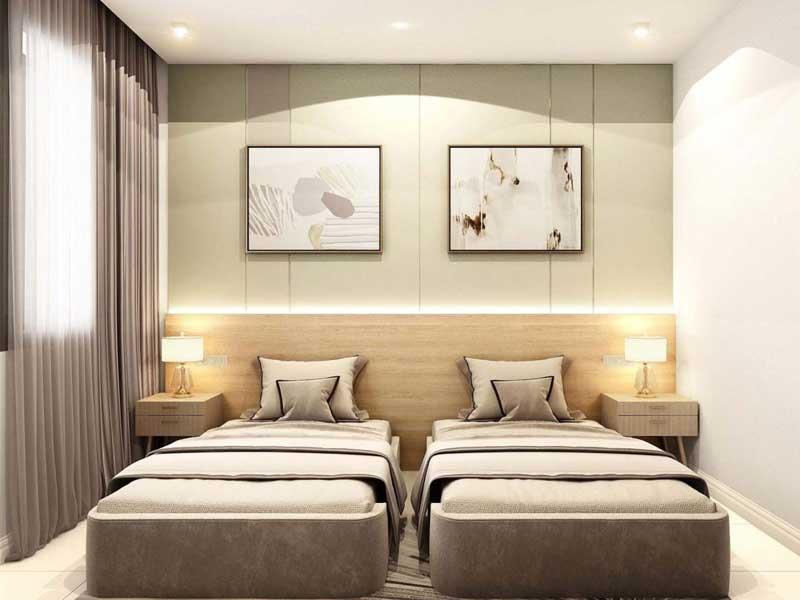 thiết kế nội thất với 2 giường đơn