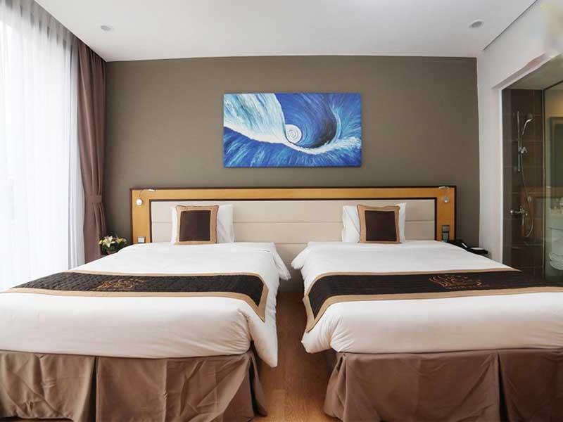 thiết kế nội thất cho hai giường ngủ đơn