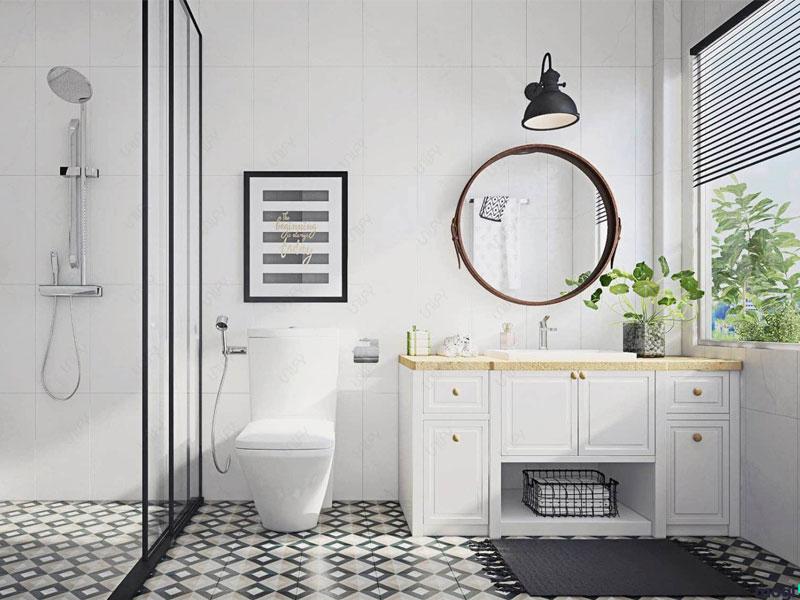 thiết kế nội thất phòng tắm phong cách tối giản