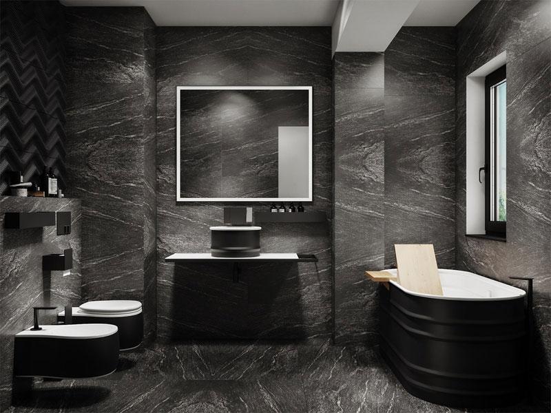 Thiết kế trắng đen trong phòng tắm