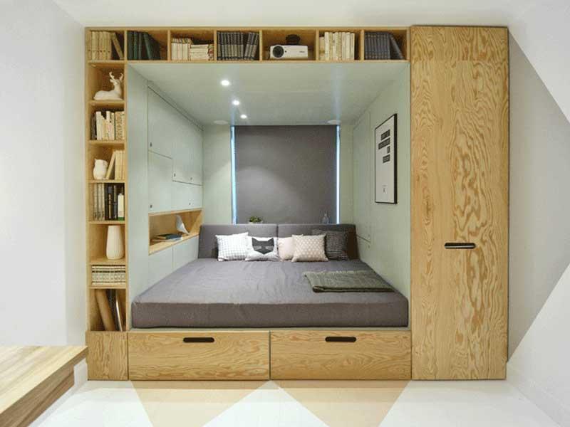Thiết kế nội thất thông minh giường ngủ