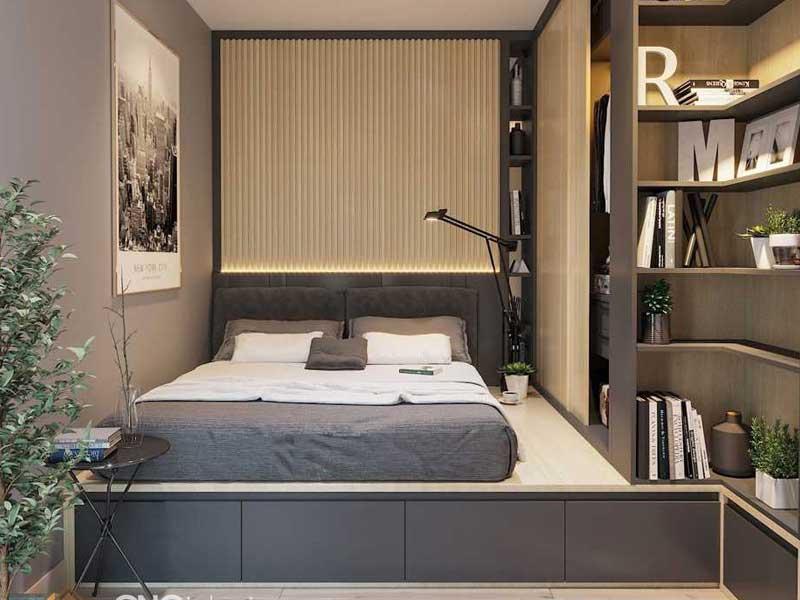 Mẫu nhà thông minh kết hợp giường ngủ với hộc tủ tiện dụng