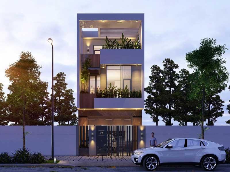 Mẫu thiết kế nhà 3 tầng hiện đại mặt tiền 5x20m
