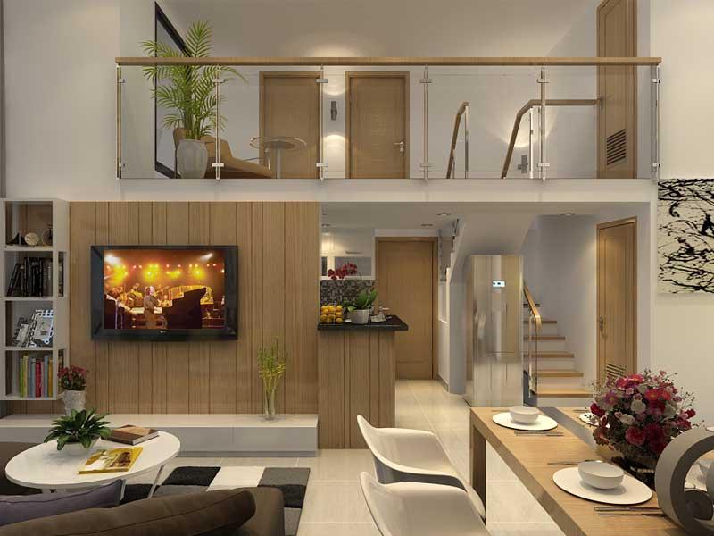 Mô hình gác lửng kết hợp với nội thất gỗ