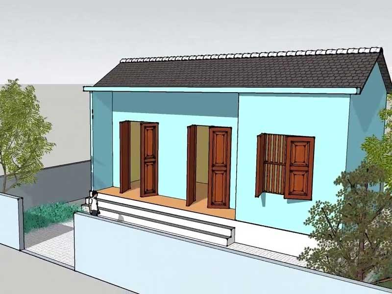 nhà cấp 4 đơn giản nông thôn