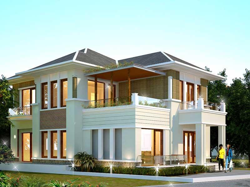 Thiết kế biệt thự với kiến trúc mái hiện đại, độc đáo