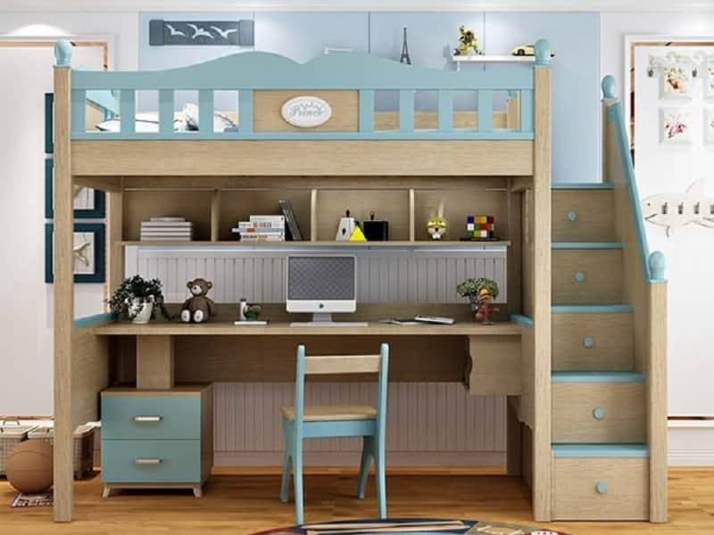 Giường tầng kết hợp với bàn học và kệ đựng sách