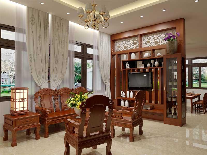 Sử dụng nội thất phòng khách làm bằng gỗ tự nhiên