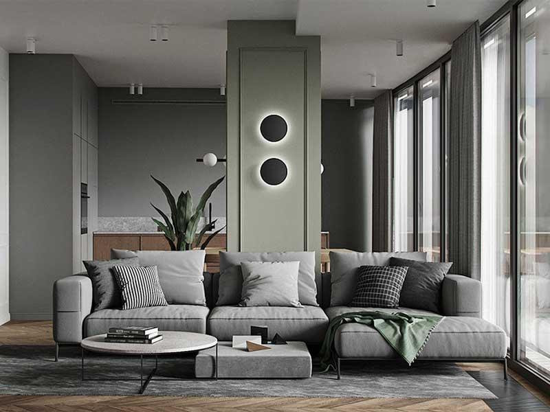 Thiết kế phòng khách với tone màu tối