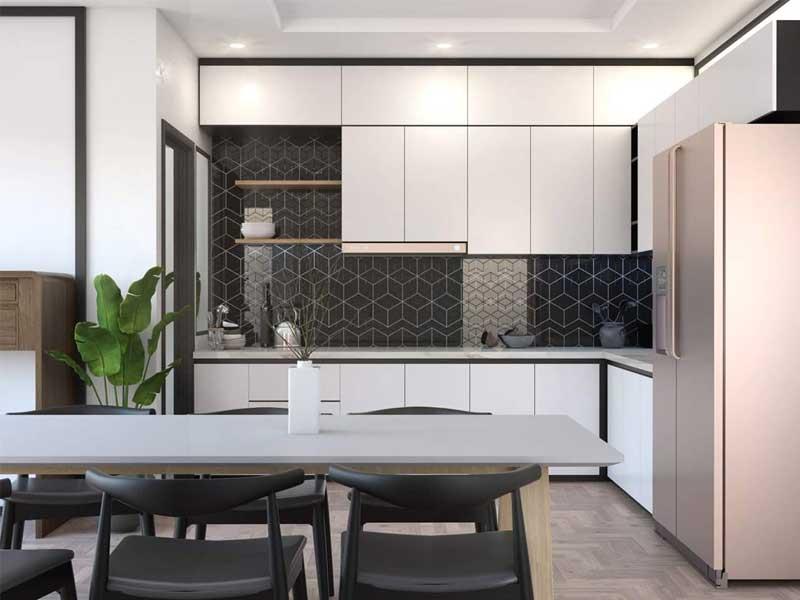 Sử dụng tủ bếp có thiết kế cao sát trần nhà