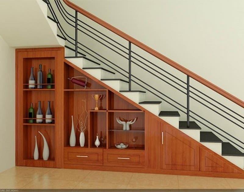thiết kế hộc đựng đồ dưới bậc cầu thang