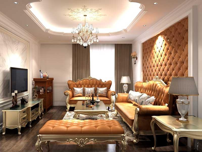 Thiết kế nội thất phòng khách tân cổ điển sang trọng