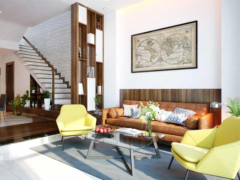 Thiết kế nội thất phòng khách nhỏ có vách ngăn