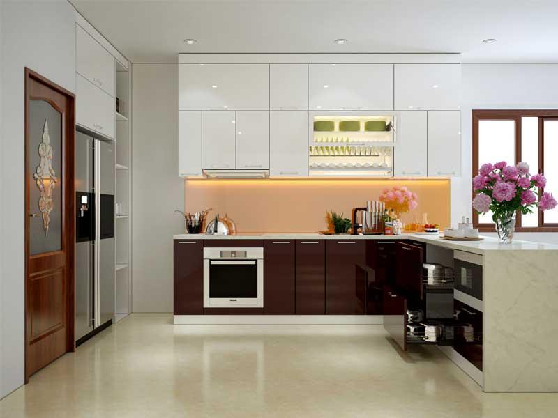 Tủ bếp có thiết kế chữ L
