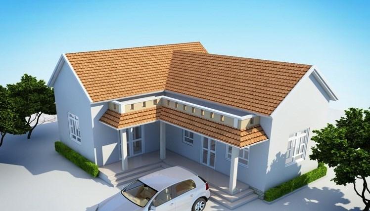 Thiết kế nhà cấp 4 hình chữ L nông thôn gần gũi