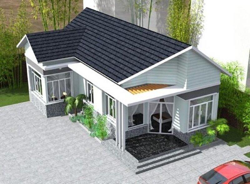 Thiết kế mái Thái tone xám hiện đại