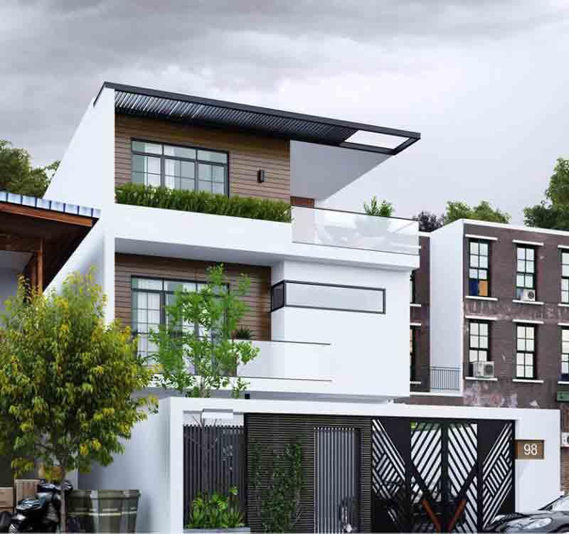 Thiết kế nhà mặt phố mái bằng