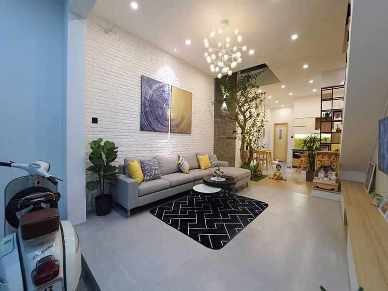 Phòng khách nhà phố 2 tầng hiện đại 5x15m 4