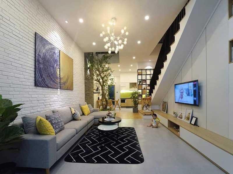 phòng khách Nhà phố 2 tầng hiện đại 5x15m