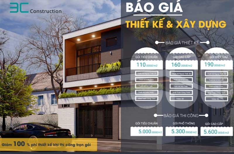 Bảng báo giá thiết kế xây dựng Quảng Nam