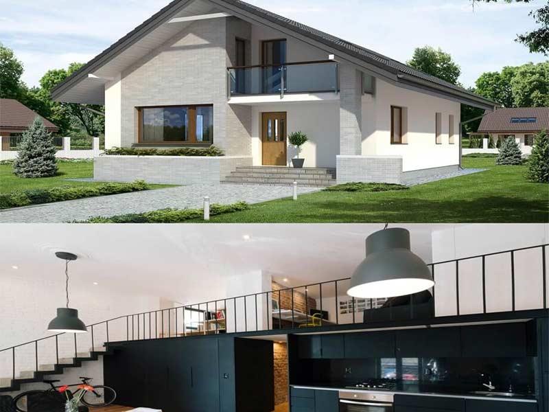 thiết kế nhà một tầng gác lửng