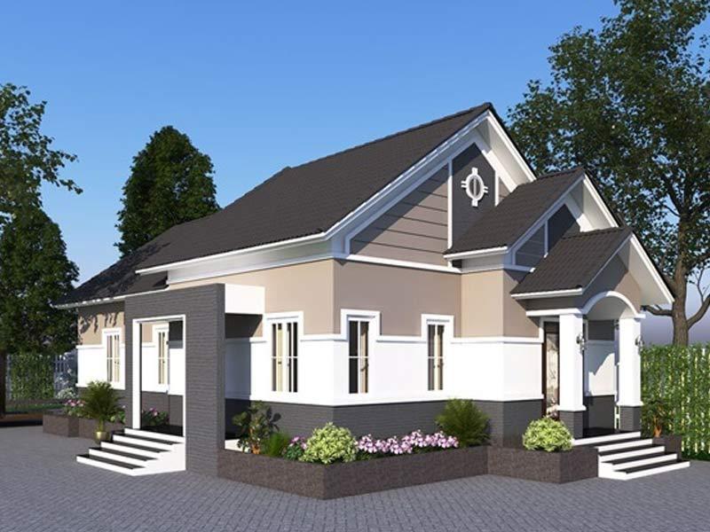thiết kế nhà một tầng mái thái