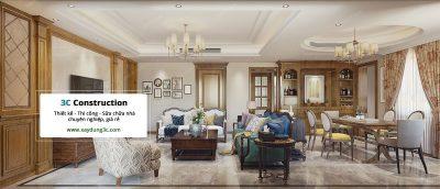 thiết kế phòng khách phong cách Bắc Mỹ