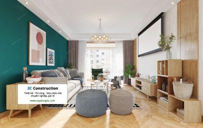 thiết kế phòng khách phong cách Bắc Âu