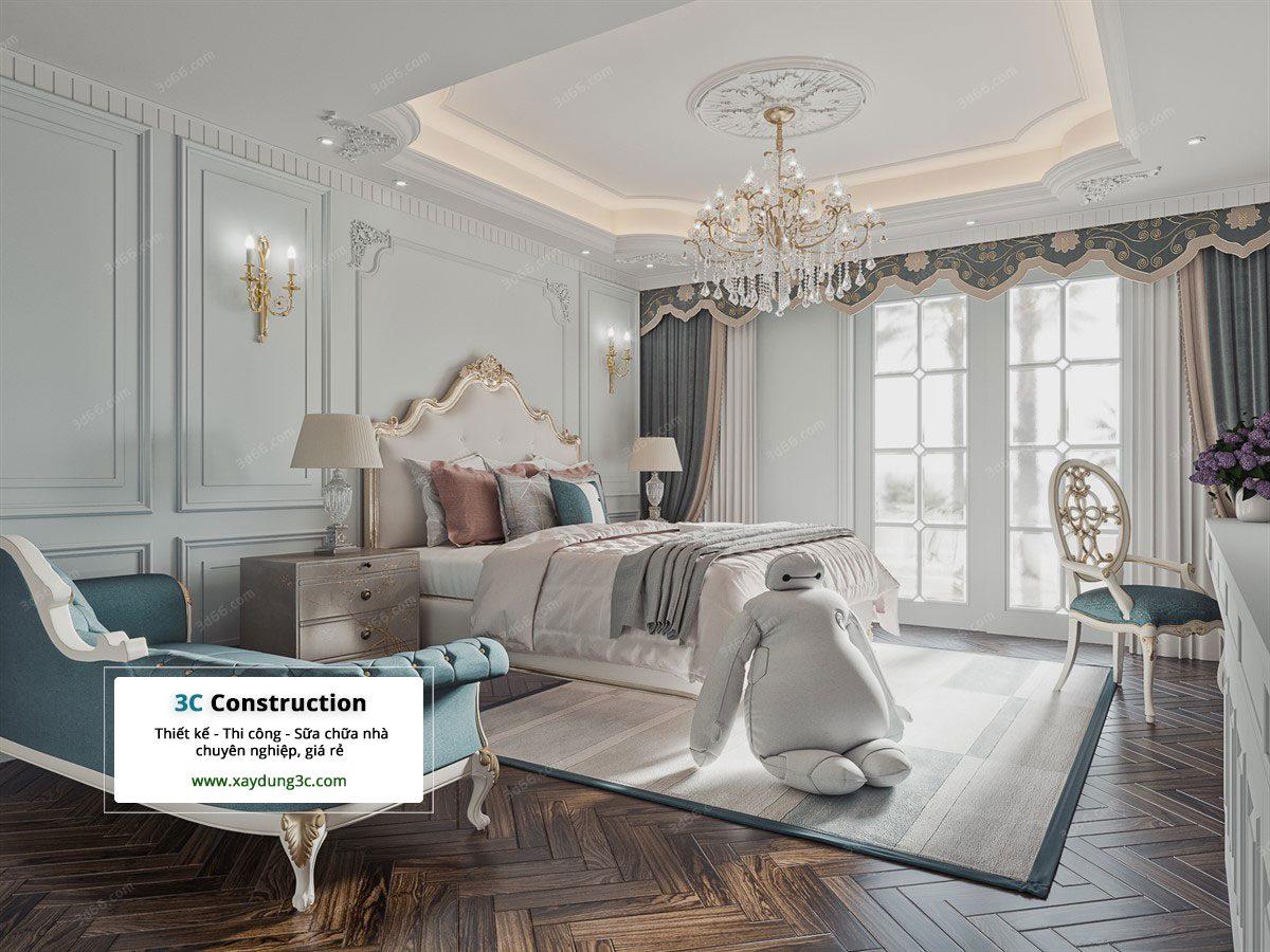 thiết kế phòng ngủ phong cách Châu Âu