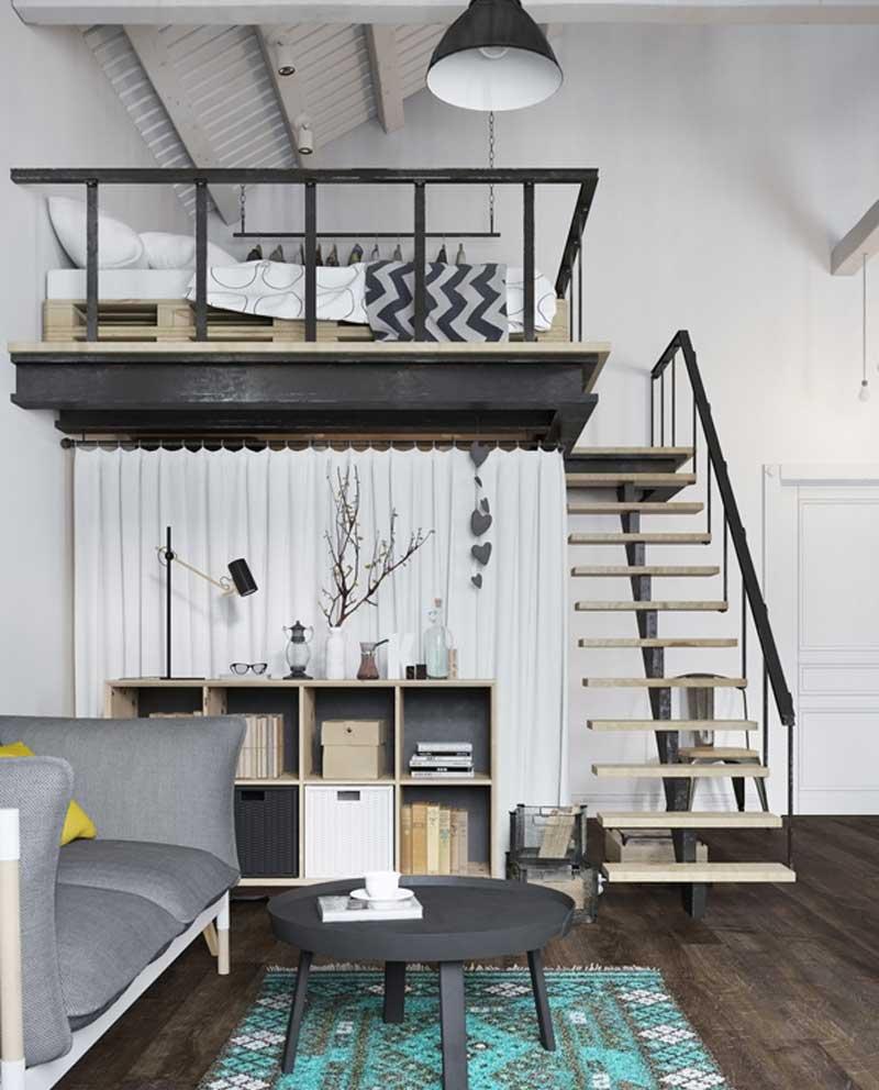 Mẫu cầu thang gác lửng hiện đại
