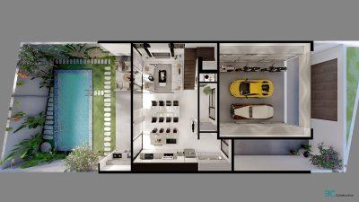 Nhà có gara ô tô và hồ bơi rộng